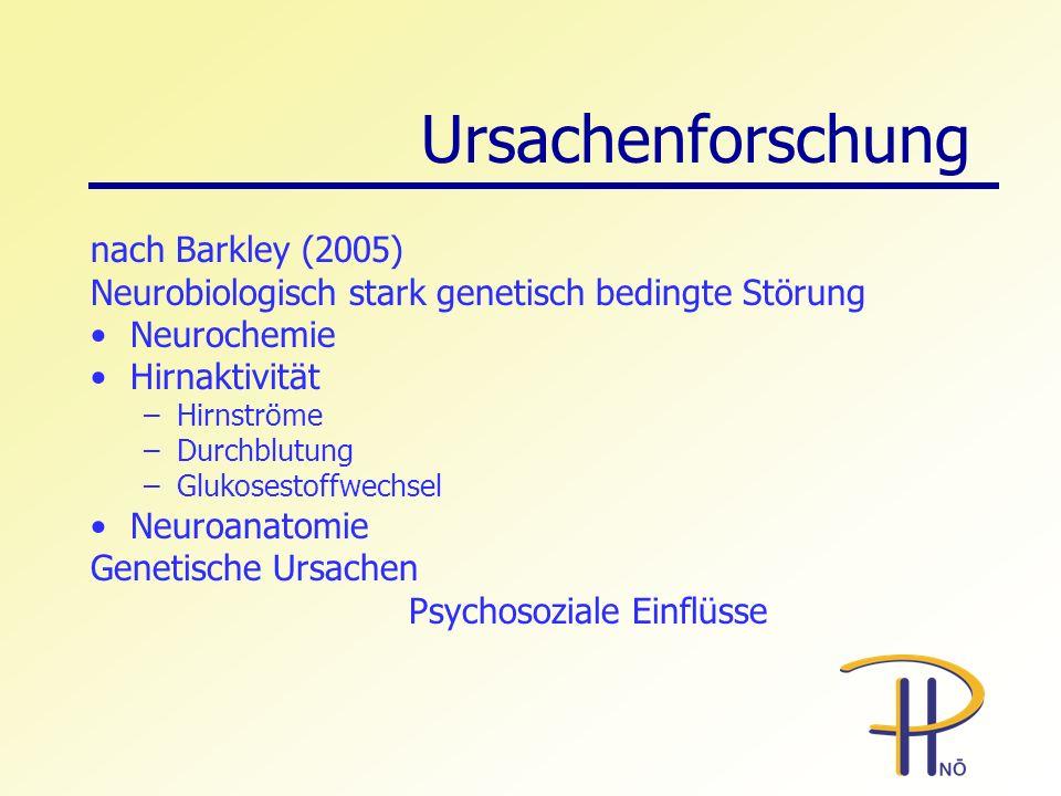 Ursachenforschung nach Barkley (2005) Neurobiologisch stark genetisch bedingte Störung Neurochemie Hirnaktivität –Hirnströme –Durchblutung –Glukosesto