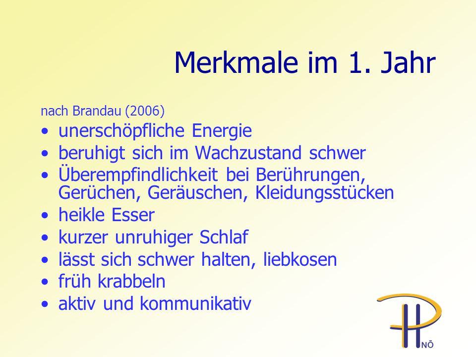 Merkmale im 1. Jahr nach Brandau (2006) unerschöpfliche Energie beruhigt sich im Wachzustand schwer Überempfindlichkeit bei Berührungen, Gerüchen, Ger