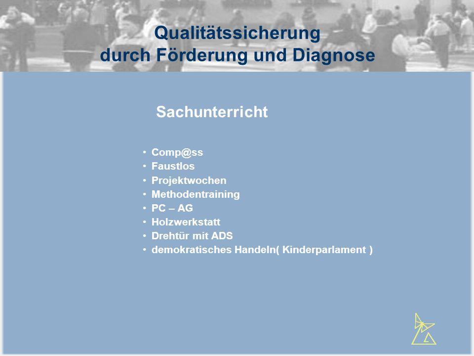 Qualitätssicherung durch Förderung und Diagnose Comp@ss Faustlos Projektwochen Methodentraining PC – AG Holzwerkstatt Drehtür mit ADS demokratisches H