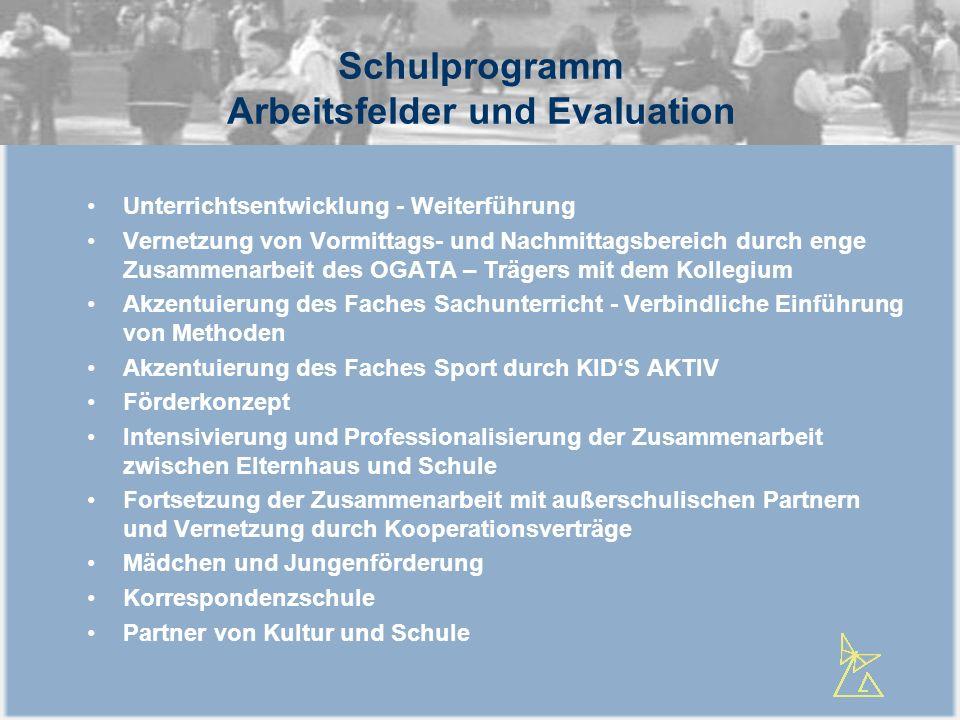 Schulprogramm Arbeitsfelder und Evaluation Unterrichtsentwicklung - Weiterführung Vernetzung von Vormittags- und Nachmittagsbereich durch enge Zusamme