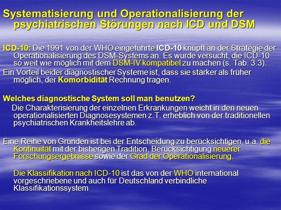 Systematisierung und Operationalisierung der psychiatrischen Störungen nach ICD und DSM ICD-10: Die 1991 von der WHO eingeführte ICD-10 knüpft an der Strategie der Operationalisierung des DSM-Systems an.