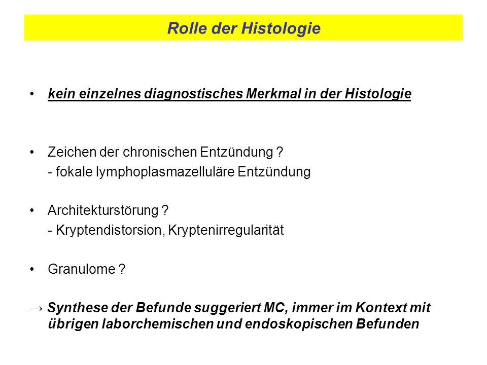Rolle der Histologie kein einzelnes diagnostisches Merkmal in der Histologie Zeichen der chronischen Entzündung ? - fokale lymphoplasmazelluläre Entzü