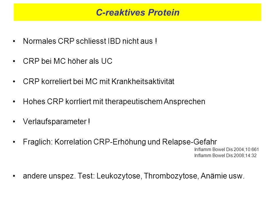 C-reaktives Protein Normales CRP schliesst IBD nicht aus ! CRP bei MC höher als UC CRP korreliert bei MC mit Krankheitsaktivität Hohes CRP korrliert m