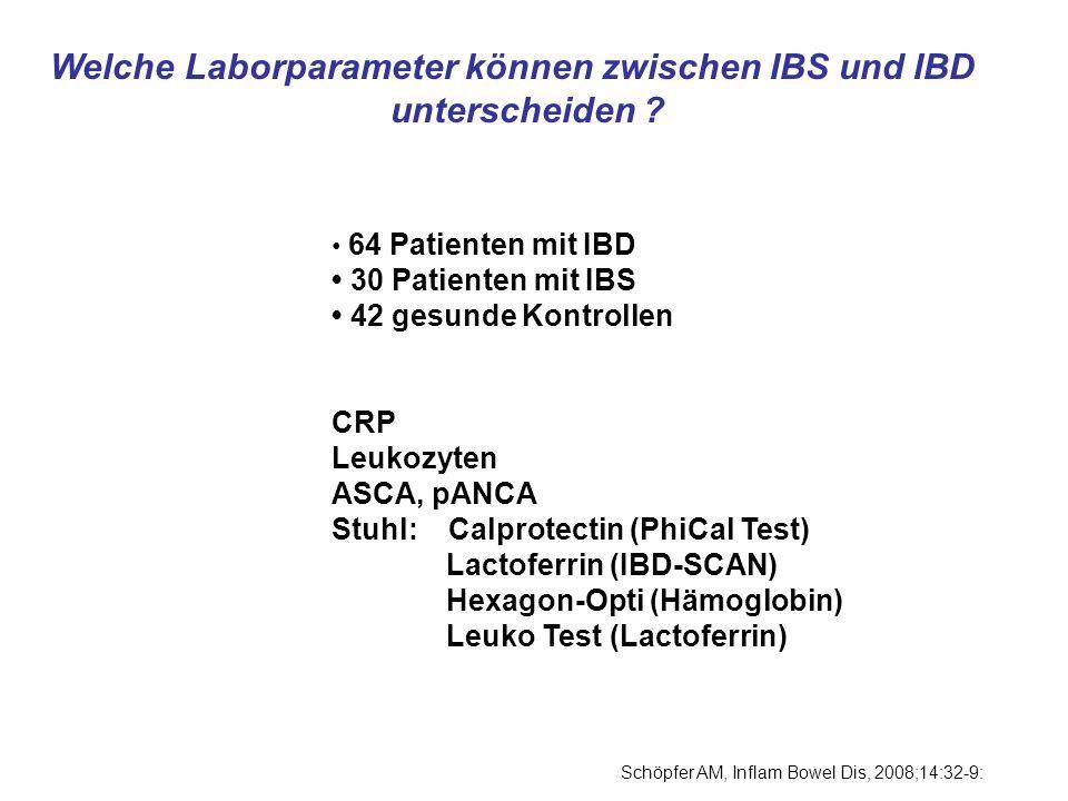 Welche Laborparameter können zwischen IBS und IBD unterscheiden ? 64 Patienten mit IBD 30 Patienten mit IBS 42 gesunde Kontrollen CRP Leukozyten ASCA,