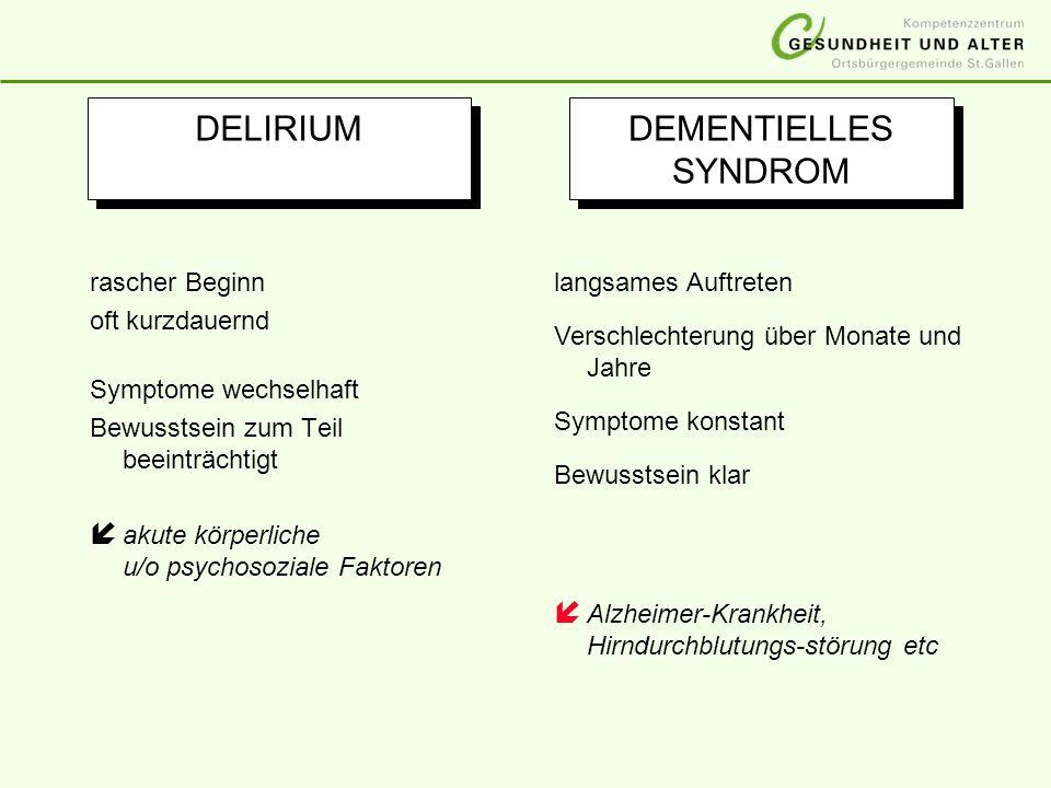 DELIRIUM DEMENTIELLES SYNDROM rascher Beginn oft kurzdauernd Symptome wechselhaft Bewusstsein zum Teil beeinträchtigt í akute körperliche u/o psychoso