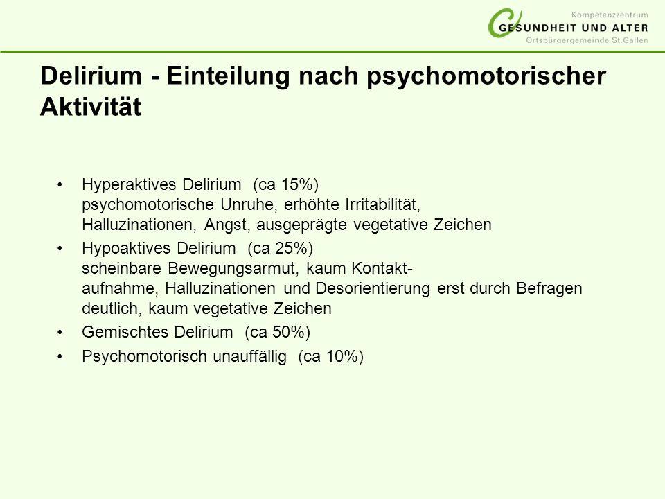 Delirium - Einteilung nach psychomotorischer Aktivität Hyperaktives Delirium (ca 15%) psychomotorische Unruhe, erhöhte Irritabilität, Halluzinationen,