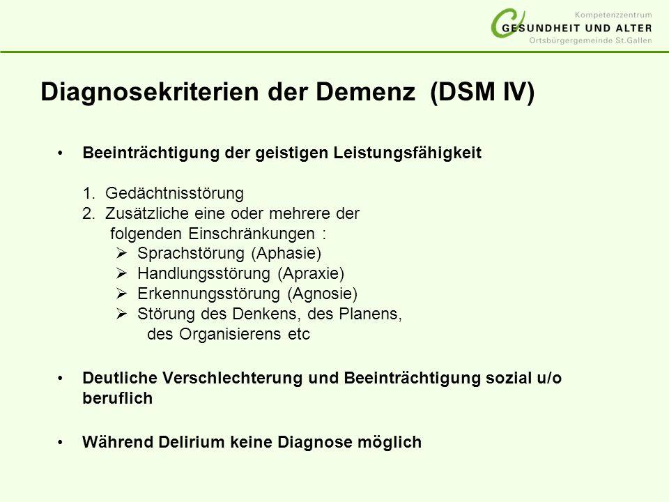 Diagnosekriterien der Demenz (DSM IV) Beeinträchtigung der geistigen Leistungsfähigkeit 1. Gedächtnisstörung 2. Zusätzliche eine oder mehrere der folg
