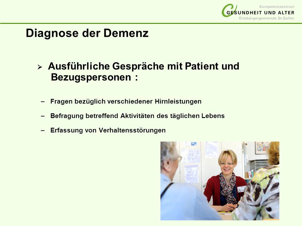 Diagnose der Demenz Ausführliche Gespräche mit Patient und Bezugspersonen : –Fragen bezüglich verschiedener Hirnleistungen –Befragung betreffend Aktiv