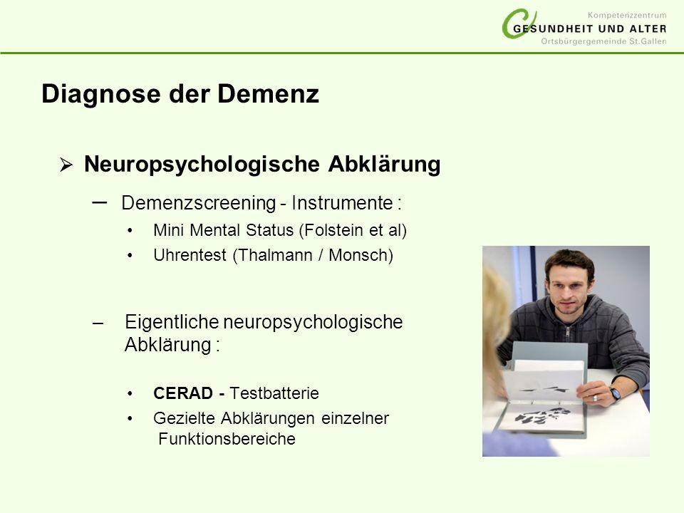 Diagnose der Demenz Neuropsychologische Abklärung – Demenzscreening - Instrumente : Mini Mental Status (Folstein et al) Uhrentest (Thalmann / Monsch)