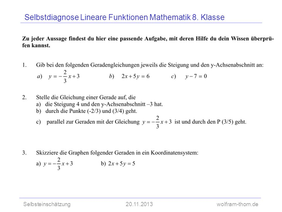 Selbsteinschätzung20.11.2013wolfram-thom.de Selbstdiagnose Lineare Funktionen Mathematik 8. Klasse
