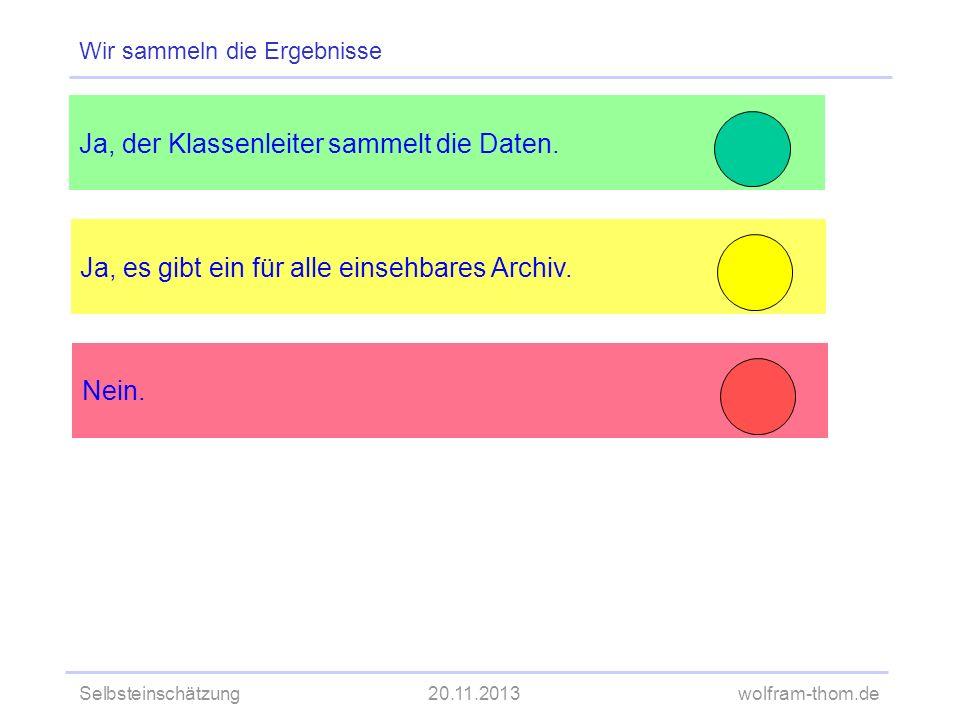 Selbsteinschätzung20.11.2013wolfram-thom.de Ja, es gibt ein für alle einsehbares Archiv. Ja, der Klassenleiter sammelt die Daten. Wir sammeln die Erge