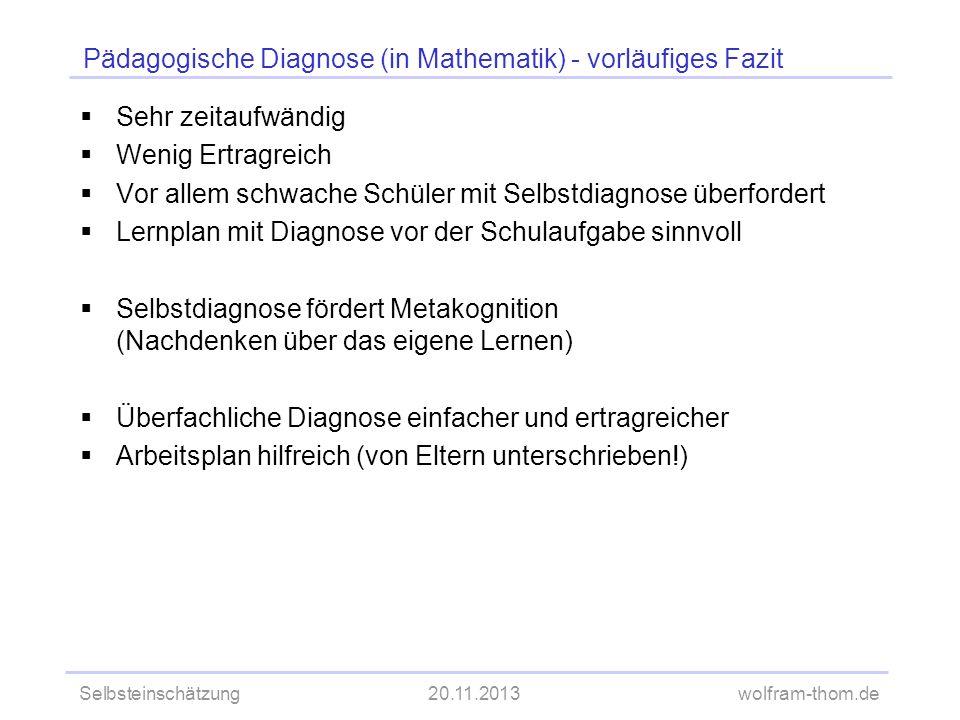 Selbsteinschätzung20.11.2013wolfram-thom.de Pädagogische Diagnose (in Mathematik) - vorläufiges Fazit Sehr zeitaufwändig Wenig Ertragreich Vor allem s