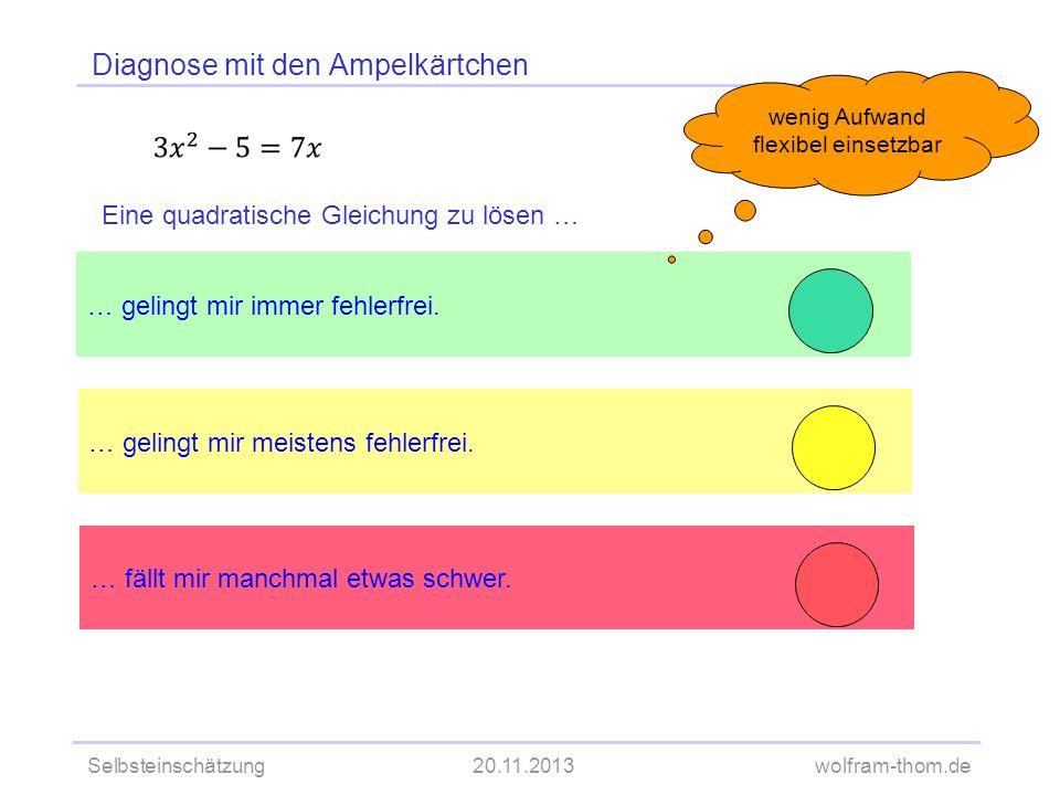 Selbsteinschätzung20.11.2013wolfram-thom.de Diagnose mit den Ampelkärtchen … gelingt mir meistens fehlerfrei.