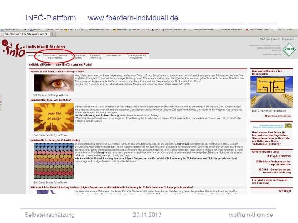 Selbsteinschätzung20.11.2013wolfram-thom.de INFÖ-Plattform www.foerdern-individuell.de