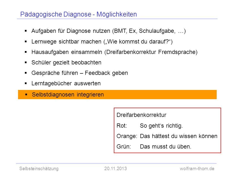 Selbsteinschätzung20.11.2013wolfram-thom.de Pädagogische Diagnose - Möglichkeiten Aufgaben für Diagnose nutzen (BMT, Ex, Schulaufgabe, …) Lernwege sic