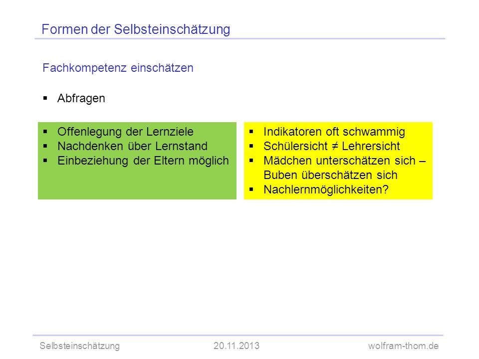 Selbsteinschätzung20.11.2013wolfram-thom.de Formen der Selbsteinschätzung Fachkompetenz einschätzen Abfragen Indikatoren oft schwammig Schülersicht Lehrersicht Mädchen unterschätzen sich – Buben überschätzen sich Nachlernmöglichkeiten.