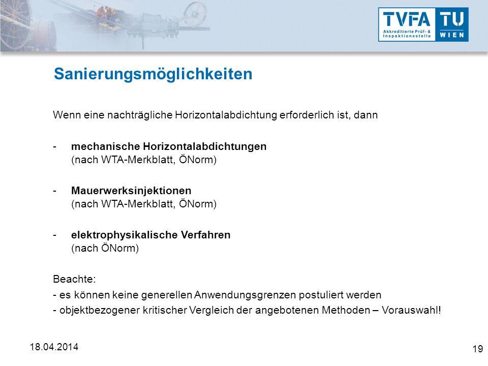 19 18.04.2014 Sanierungsmöglichkeiten Wenn eine nachträgliche Horizontalabdichtung erforderlich ist, dann -mechanische Horizontalabdichtungen (nach WT