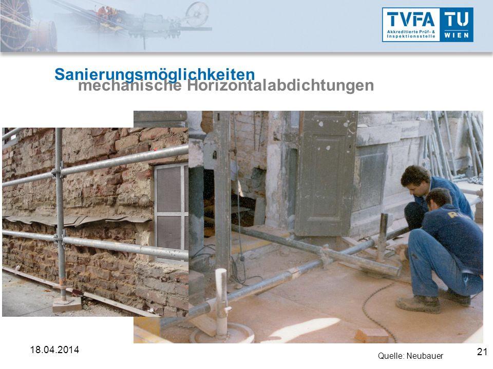 21 18.04.2014 Sanierungsmöglichkeiten mechanische Horizontalabdichtungen Quelle: Neubauer