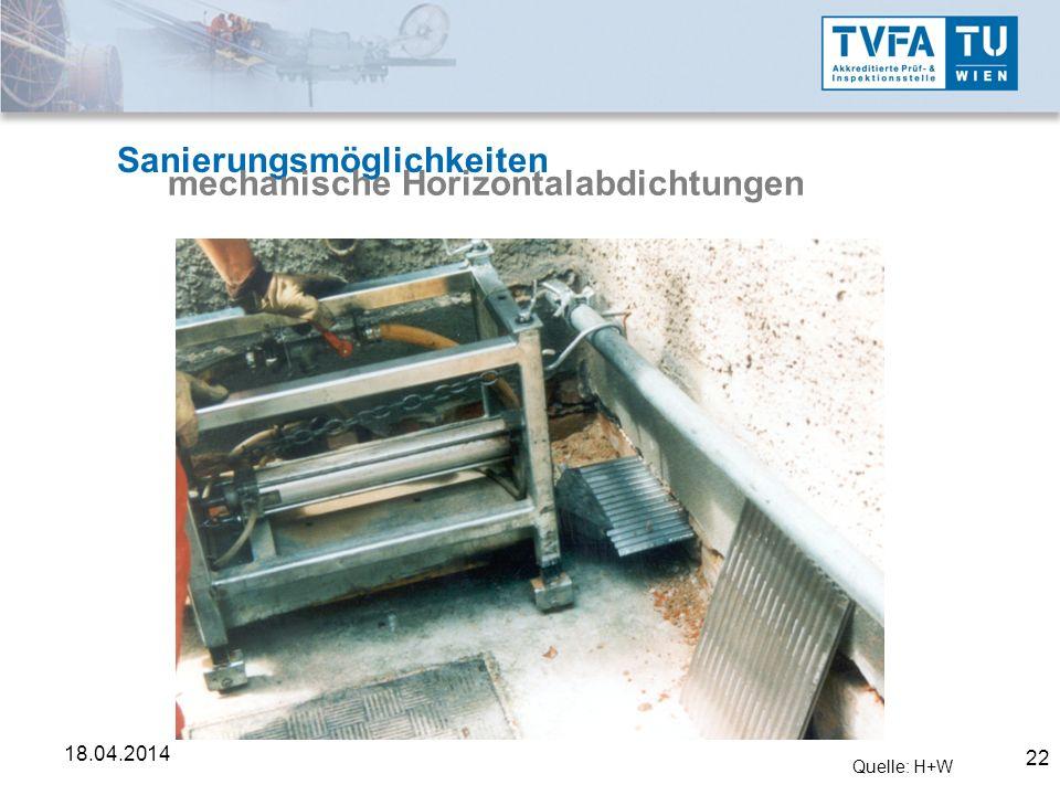22 18.04.2014 Sanierungsmöglichkeiten mechanische Horizontalabdichtungen Quelle: H+W
