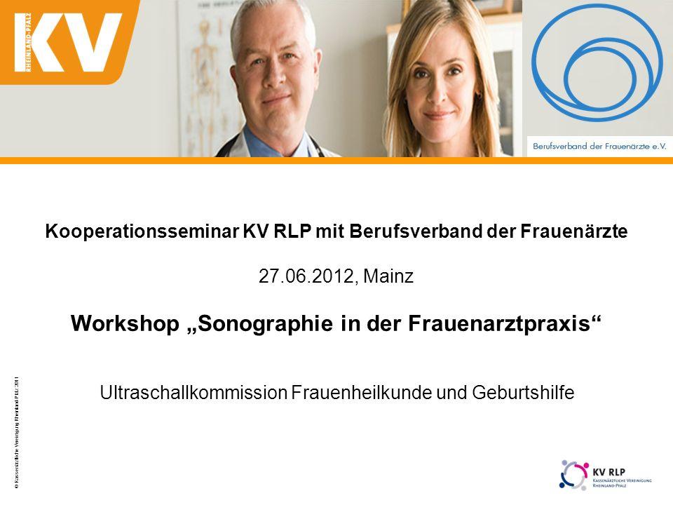 © Kassenärztliche Vereinigung Rheinland-Pfalz 2011 1 Kooperationsseminar KV RLP mit Berufsverband der Frauenärzte 27.06.2012, Mainz Workshop Sonograph