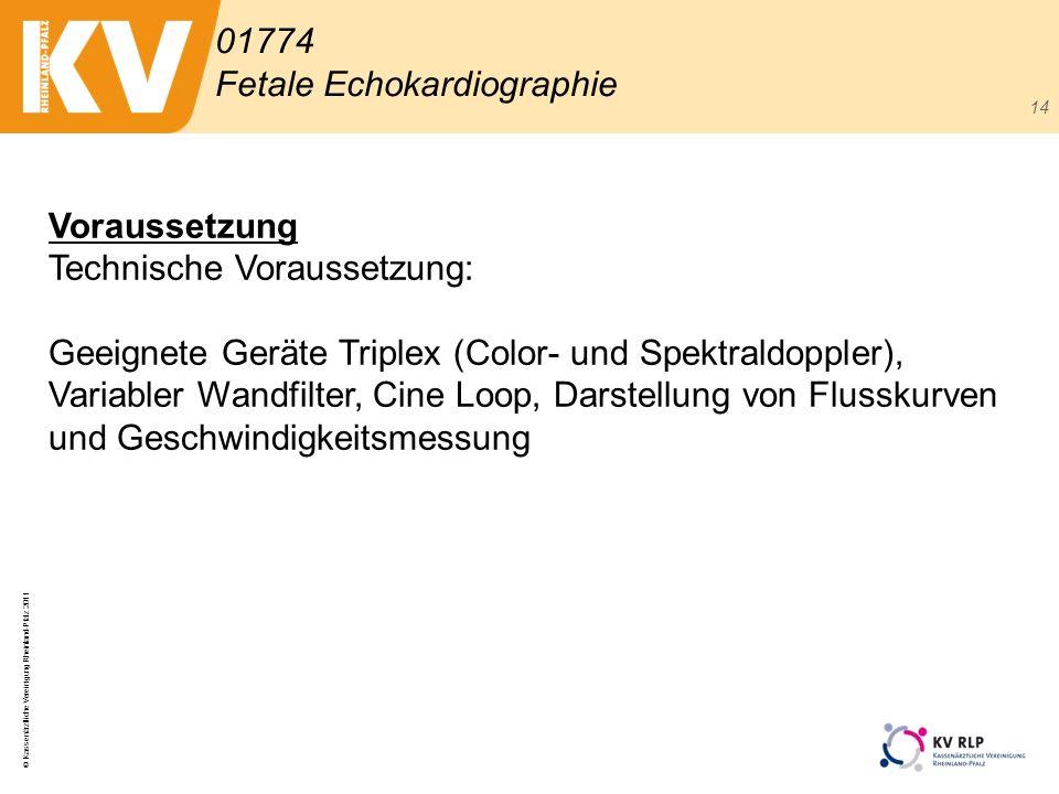 © Kassenärztliche Vereinigung Rheinland-Pfalz 2011 14 01774 Fetale Echokardiographie Voraussetzung Technische Voraussetzung: Geeignete Geräte Triplex