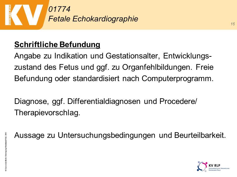 © Kassenärztliche Vereinigung Rheinland-Pfalz 2011 16 Schriftliche Befundung Angabe zu Indikation und Gestationsalter, Entwicklungs- zustand des Fetus