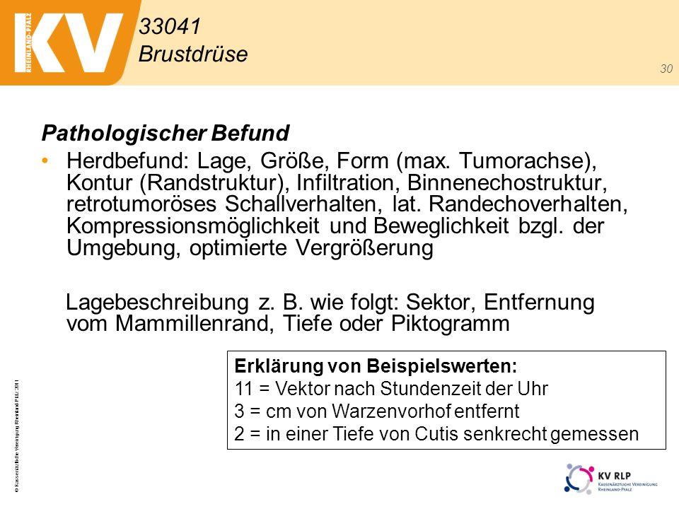 © Kassenärztliche Vereinigung Rheinland-Pfalz 2011 30 Pathologischer Befund Herdbefund: Lage, Größe, Form (max. Tumorachse), Kontur (Randstruktur), In