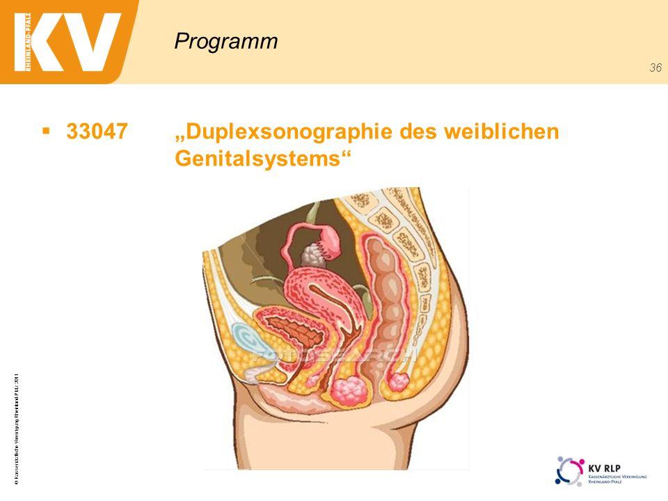 © Kassenärztliche Vereinigung Rheinland-Pfalz 2011 36 Programm 33047Duplexsonographie des weiblichen Genitalsystems