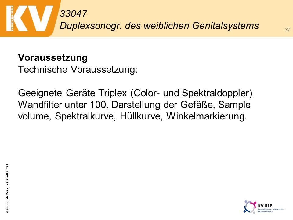 © Kassenärztliche Vereinigung Rheinland-Pfalz 2011 37 Voraussetzung Technische Voraussetzung: Geeignete Geräte Triplex (Color- und Spektraldoppler) Wa