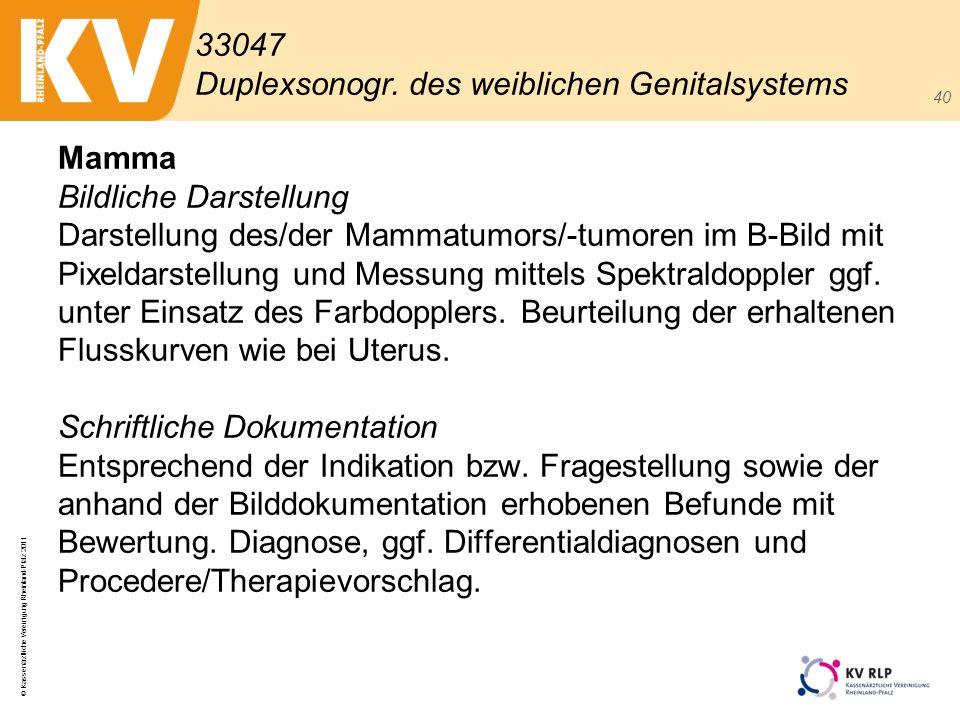 © Kassenärztliche Vereinigung Rheinland-Pfalz 2011 40 Mamma Bildliche Darstellung Darstellung des/der Mammatumors/-tumoren im B-Bild mit Pixeldarstell