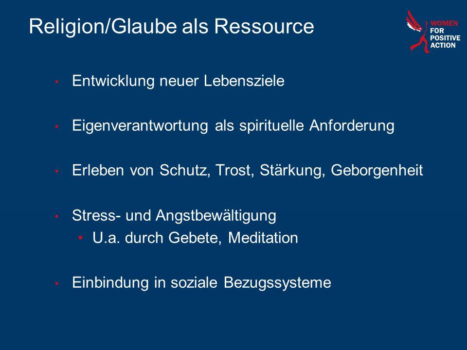 Religion/Glaube als Ressource Entwicklung neuer Lebensziele Eigenverantwortung als spirituelle Anforderung Erleben von Schutz, Trost, Stärkung, Geborg