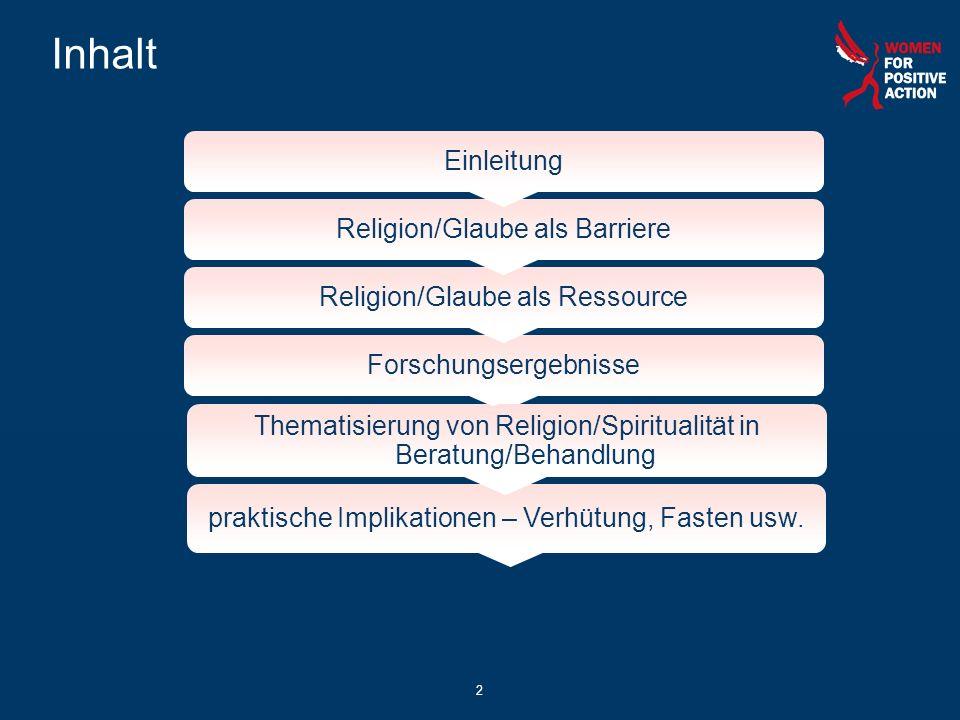 Inhalt 2 Einleitung Religion/Glaube als Barriere Religion/Glaube als Ressource Forschungsergebnisse Thematisierung von Religion/Spiritualität in Berat