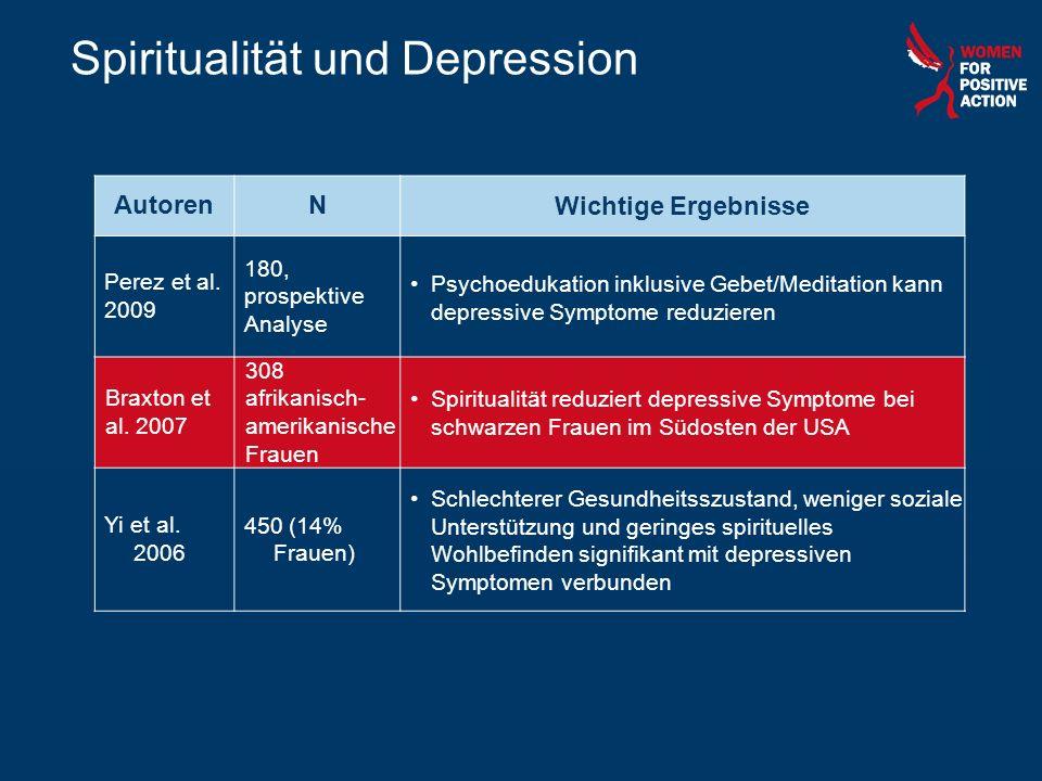 Spiritualität und Depression AutorenNWichtige Ergebnisse Perez et al. 2009 180, prospektive Analyse Psychoedukation inklusive Gebet/Meditation kann de