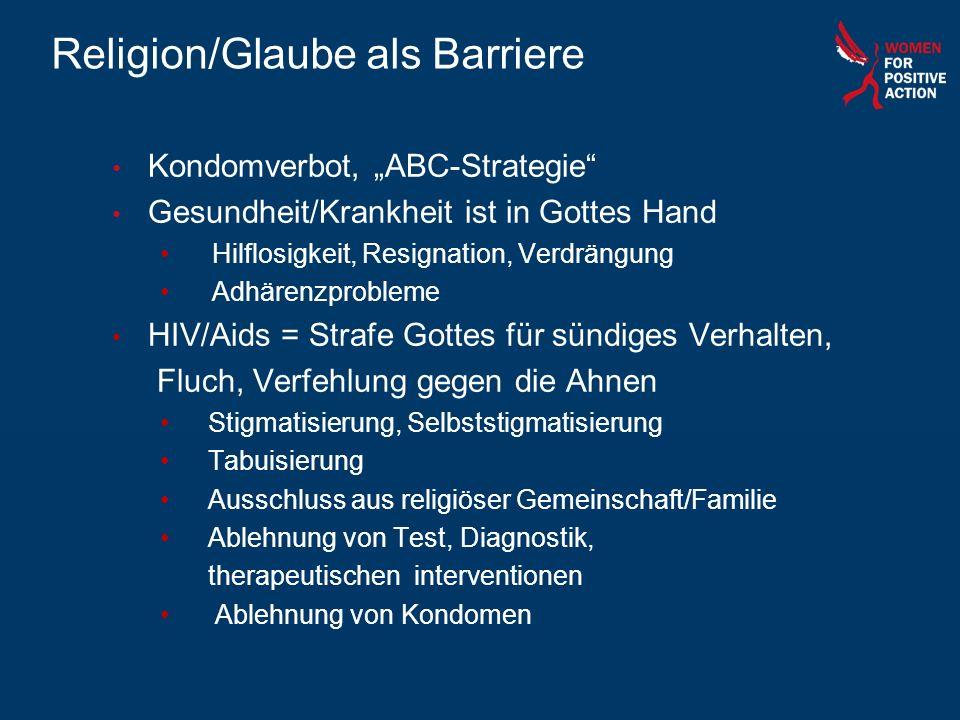 Religion/Glaube als Barriere Kondomverbot, ABC-Strategie Gesundheit/Krankheit ist in Gottes Hand Hilflosigkeit, Resignation, Verdrängung Adhärenzprobl