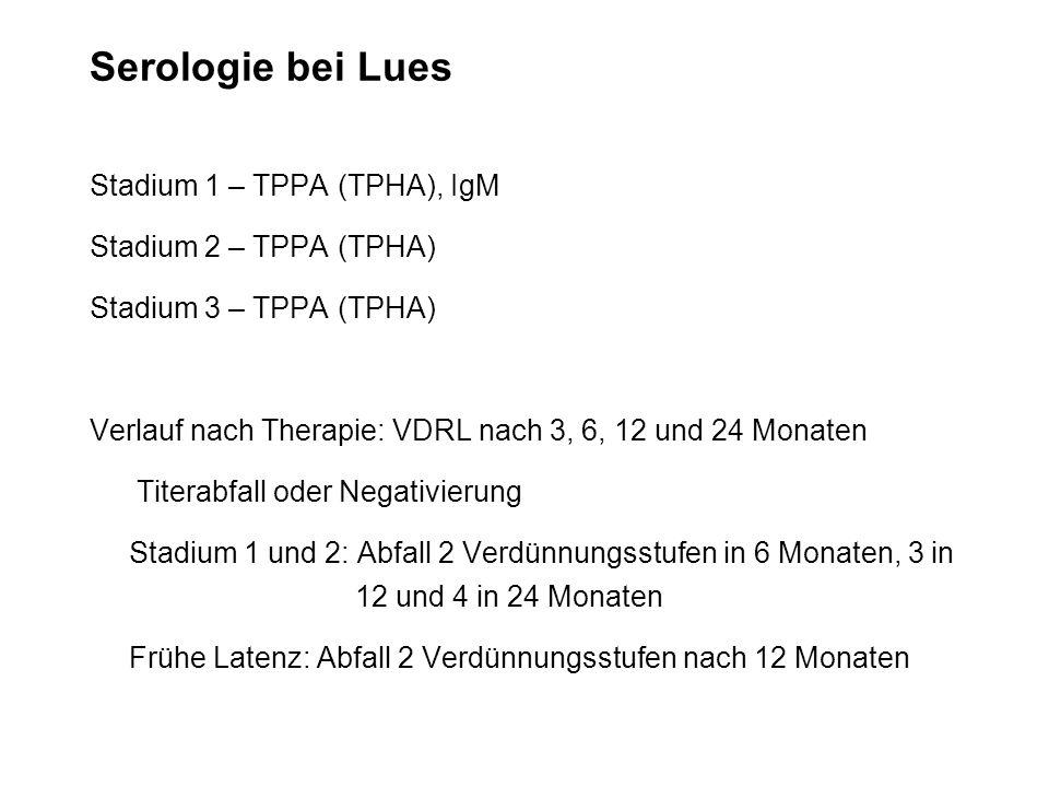 Serologie bei Lues Stadium 1 – TPPA (TPHA), IgM Stadium 2 – TPPA (TPHA) Stadium 3 – TPPA (TPHA) Verlauf nach Therapie: VDRL nach 3, 6, 12 und 24 Monat