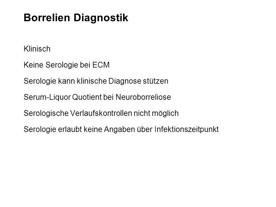 Borrelien Diagnostik Klinisch Keine Serologie bei ECM Serologie kann klinische Diagnose stützen Serum-Liquor Quotient bei Neuroborreliose Serologische