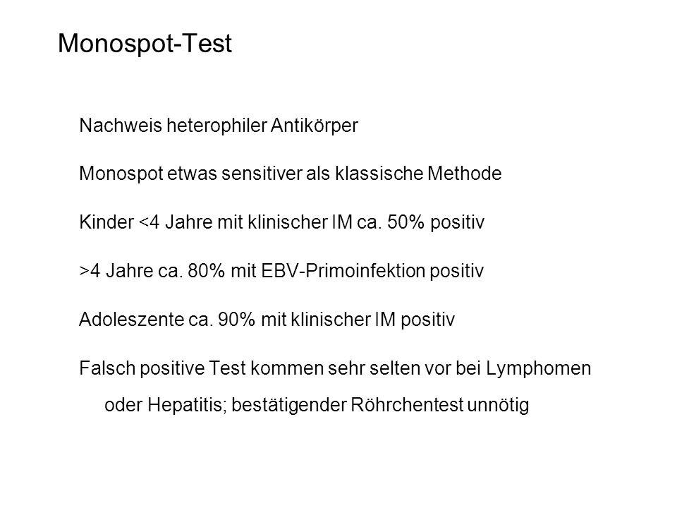 Monospot-Test Nachweis heterophiler Antikörper Monospot etwas sensitiver als klassische Methode Kinder <4 Jahre mit klinischer IM ca. 50% positiv >4 J