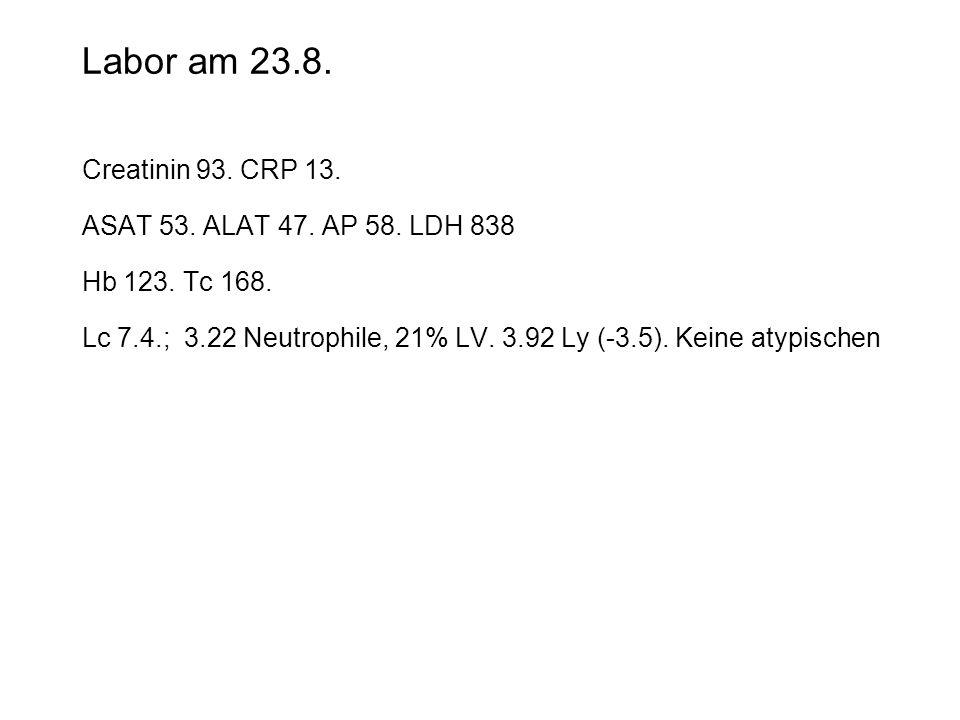 Labor am 23.8. Creatinin 93. CRP 13. ASAT 53. ALAT 47. AP 58. LDH 838 Hb 123. Tc 168. Lc 7.4.; 3.22 Neutrophile, 21% LV. 3.92 Ly (-3.5). Keine atypisc