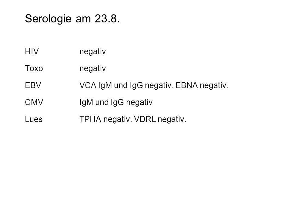 Serologie am 23.8. HIVnegativ Toxonegativ EBVVCA IgM und IgG negativ. EBNA negativ. CMVIgM und IgG negativ LuesTPHA negativ. VDRL negativ.