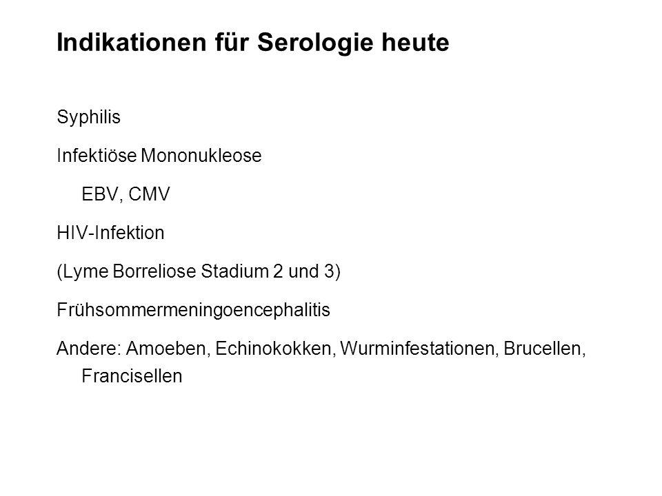Indikationen für Serologie heute Syphilis Infektiöse Mononukleose EBV, CMV HIV-Infektion (Lyme Borreliose Stadium 2 und 3) Frühsommermeningoencephalit