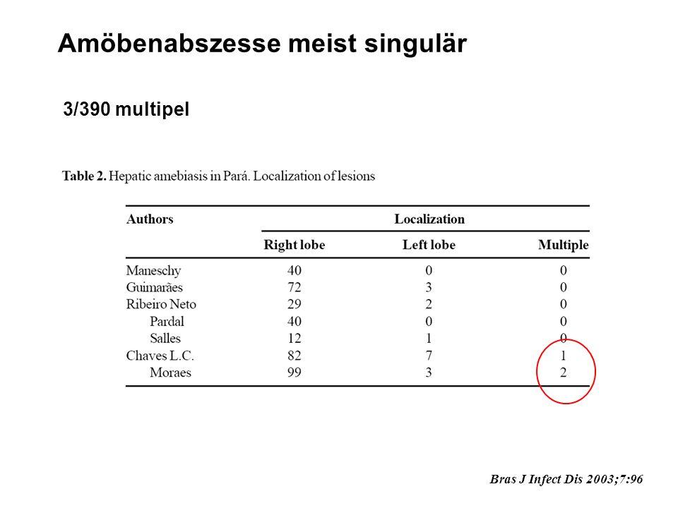 Amöbenabszesse meist singulär 3/390 multipel Bras J Infect Dis 2003;7:96