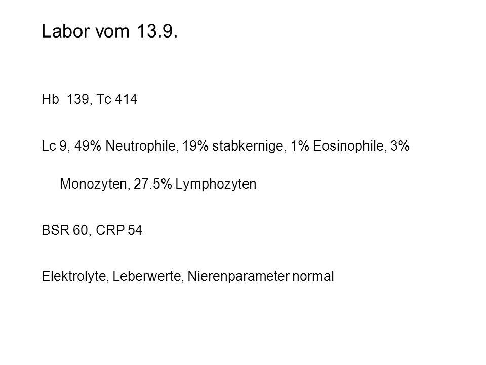 Labor vom 13.9. Hb 139, Tc 414 Lc 9, 49% Neutrophile, 19% stabkernige, 1% Eosinophile, 3% Monozyten, 27.5% Lymphozyten BSR 60, CRP 54 Elektrolyte, Leb