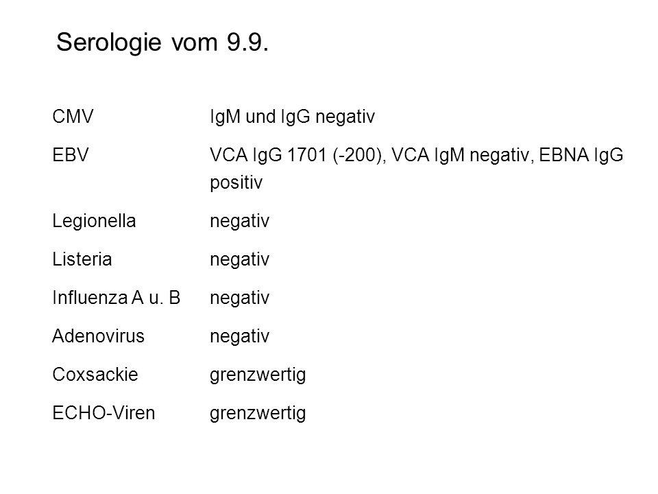 Serologie vom 9.9. CMVIgM und IgG negativ EBVVCA IgG 1701 (-200), VCA IgM negativ, EBNA IgG positiv Legionellanegativ Listerianegativ Influenza A u. B