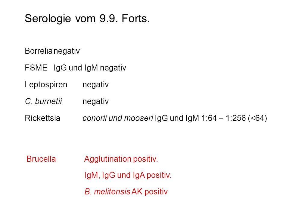 Serologie vom 9.9. Forts. Borrelianegativ FSMEIgG und IgM negativ Leptospirennegativ C. burnetiinegativ Rickettsiaconorii und mooseri IgG und IgM 1:64