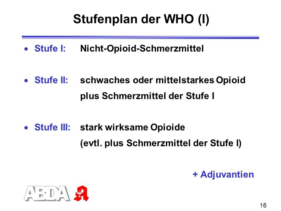 16 Stufe I: Nicht-Opioid-Schmerzmittel Stufe II: schwaches oder mittelstarkes Opioid plus Schmerzmittel der Stufe I Stufe III: stark wirksame Opioide