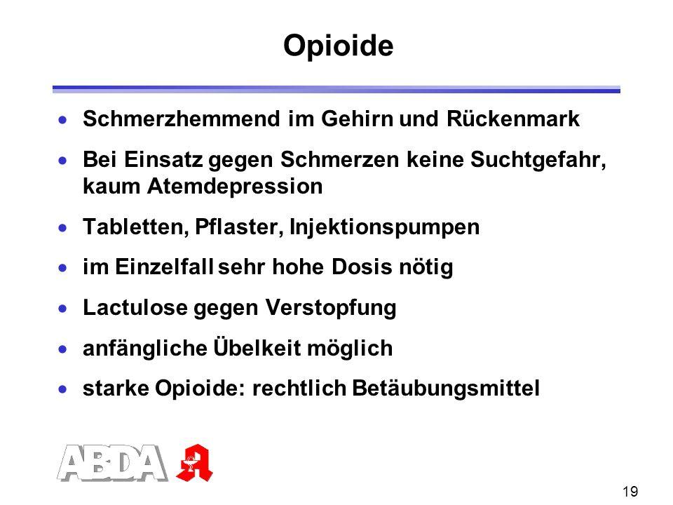 19 Opioide Schmerzhemmend im Gehirn und Rückenmark Bei Einsatz gegen Schmerzen keine Suchtgefahr, kaum Atemdepression Tabletten, Pflaster, Injektionsp