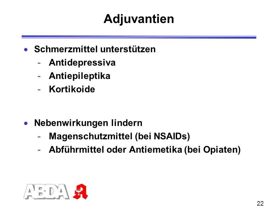22 Adjuvantien Schmerzmittel unterstützen - Antidepressiva - Antiepileptika - Kortikoide Nebenwirkungen lindern - Magenschutzmittel (bei NSAIDs) - Abf