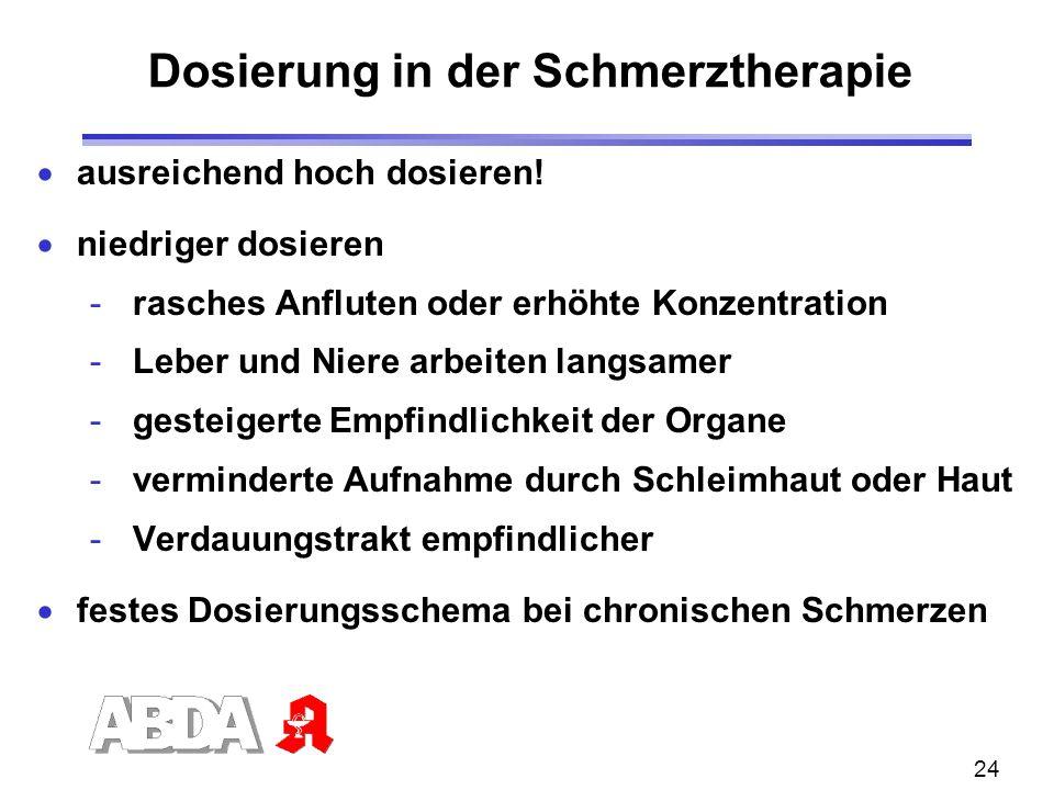 24 Dosierung in der Schmerztherapie ausreichend hoch dosieren! niedriger dosieren - rasches Anfluten oder erhöhte Konzentration - Leber und Niere arbe