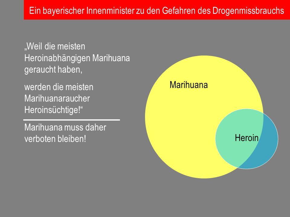 Marihuana Heroin Weil die meisten Heroinabhängigen Marihuana geraucht haben, werden die meisten Marihuanaraucher Heroinsüchtige! Marihuana muss daher