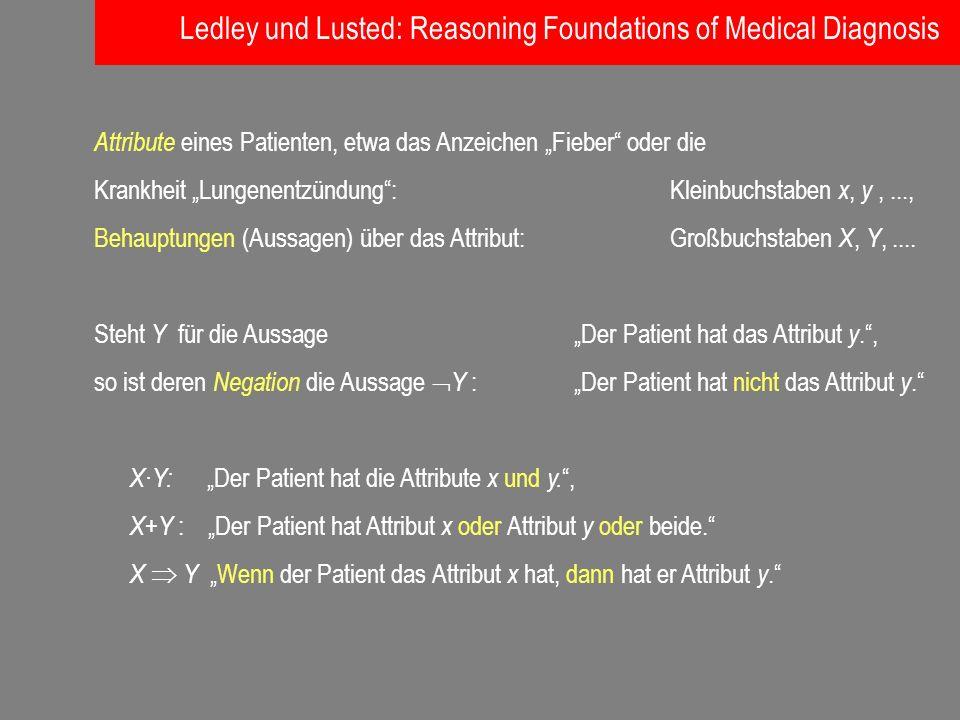 Attribute eines Patienten, etwa das Anzeichen Fieber oder die Krankheit Lungenentzündung: Kleinbuchstaben x, y,..., Behauptungen (Aussagen) über das A